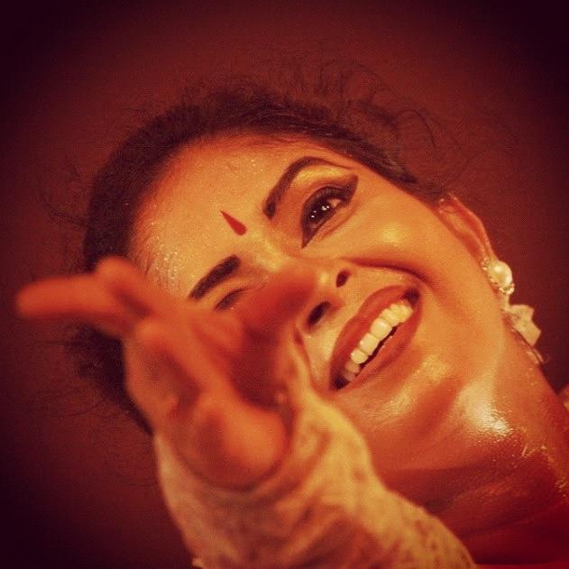 A performer enjoying herself at Contempory Dance Festival at Rabindra Mandap.