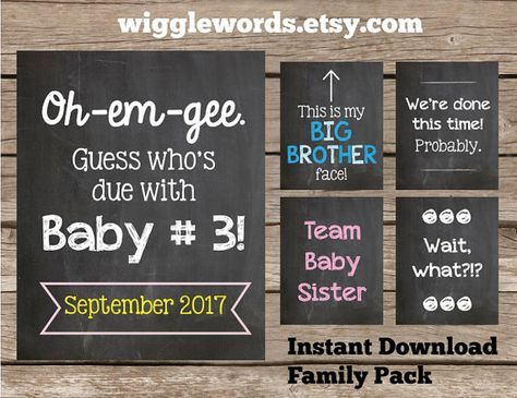 Third Baby Pregnancy Announcement Pack for the by WiggleWords