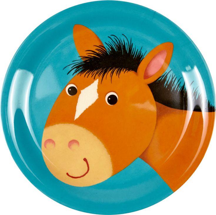 Liebevoll gestalteter Melamin Teller Pferd der neuen Kollektion