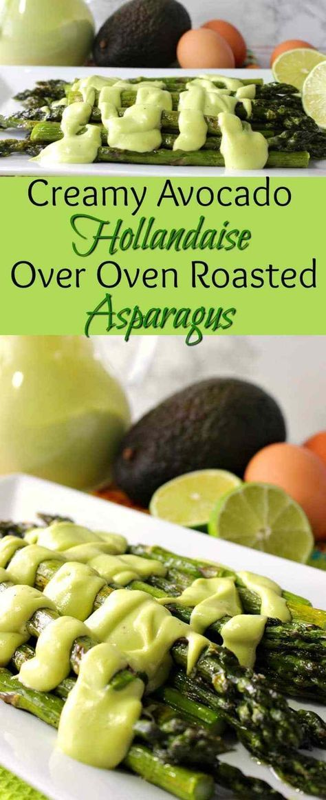 Upgrade your oven roasted asparagus with this easy to make thick and Creamy Avocado Hollandaise Sauce. Your taste buds will thank you! - Kudos Kitchen by Renee