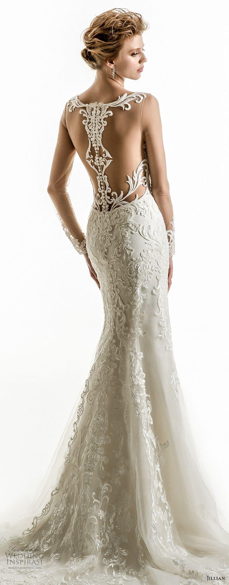jillian 2018 bridal long sleeves illusion bateau sweetheart neckline full embellishment elegant fit and flare wedding dress sheer lace back chapel train (05) zv bv