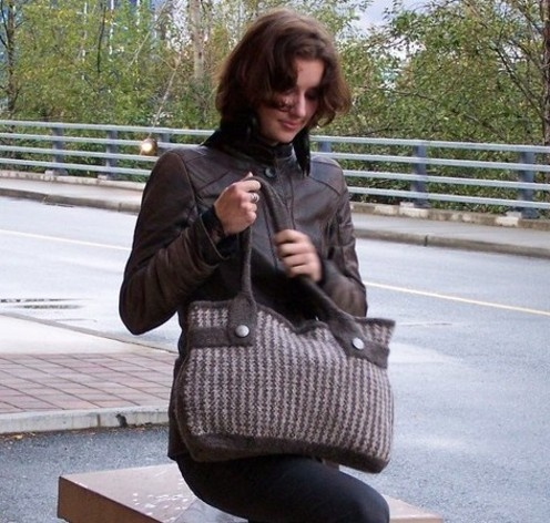 this bag is knitted then felted; I could crochet something similar