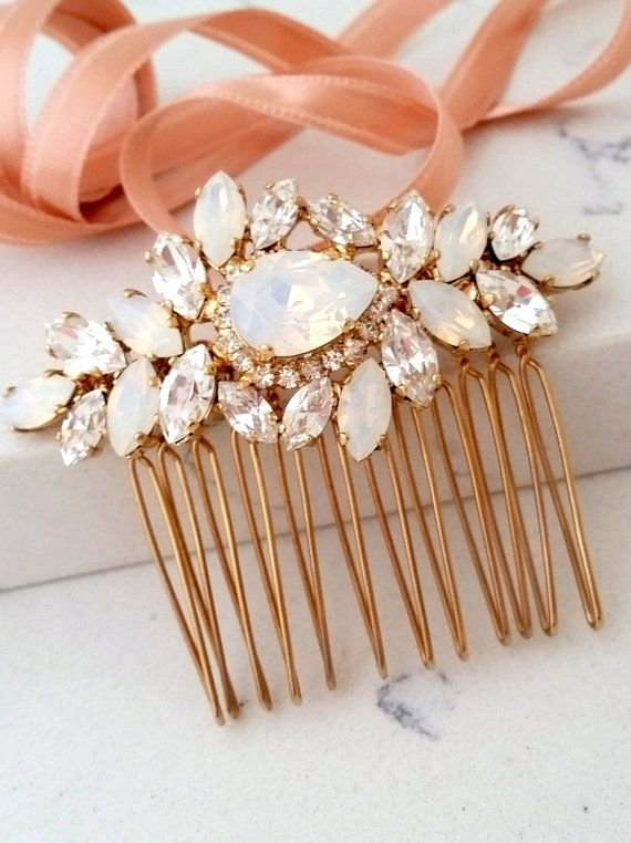 Bridal Hair Comb | Wedding Hair Accessory | White opal Hair Comb | Wedding headpiece | Crystal hair comb | Rhinestone head piece | Gatsby Headpiece by EldorTinaJewelry | http://etsy.me/2bdAl2p