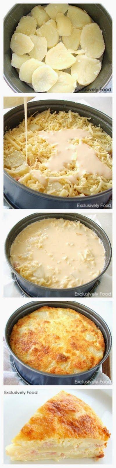Aardappel/kaas/ham taart