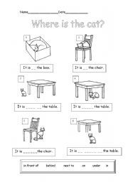 English Worksheet Where Is The Cat