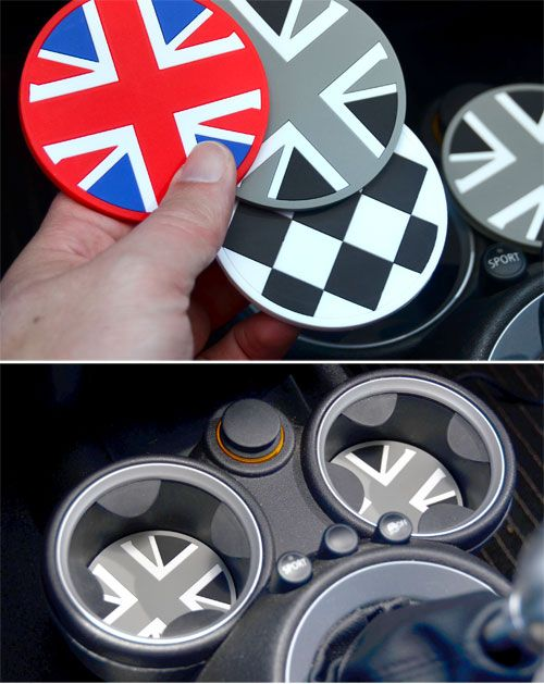 Coasters in the mini. Cool idea, but I'll pass on the Union Jack.