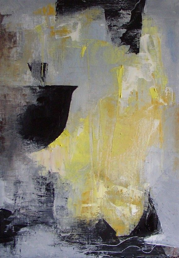 "Abstract painting,  yellow, grey, black, white, ""Steam and Simmer"", small original oil,11.6 x 8.3"