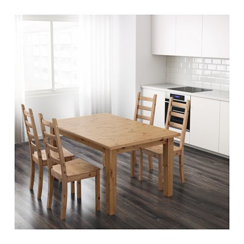 Solid pine dining table at IKEA: STORNÄS Extendable table, antique stain
