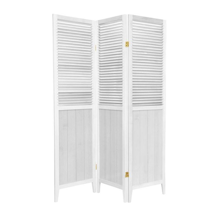 Oriental Furniture 3 Panel White Wood Folding Indoor Privacy Screen