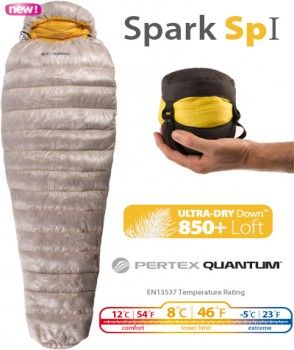 Sea To Summit Spark SP I - Shell: 10D Pertex© Quantum© treated with DWR, Liner: 15D nylon soft touch, high density weave, 850+ loft Ultra-Dry Down™ (90/10 European goose down) Fill weight: Regular 6.3 oz | 180g, Bag weight: Regular 12.3 oz | 348g, EN Temperature Rating: 46 F / 8 C Lower LImit, Suggested use: Cycle touring, ultra-light hiking, adventure racing. Available: August 2013