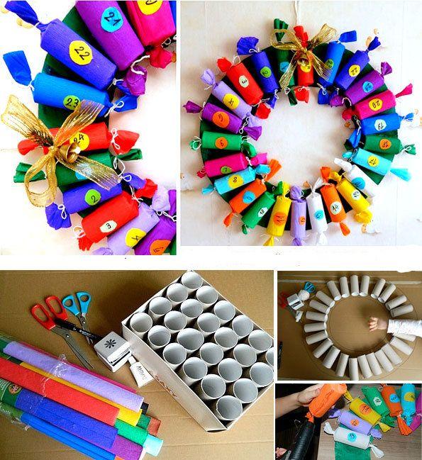 Guirlanda para esperar o natal, feita com rolos de papel higiênico