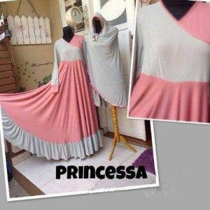 Gaun muslim syar'i modern princessa set bergo pink