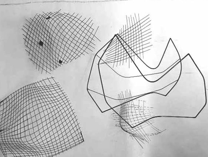 Concept sketch for Bertoia chairs