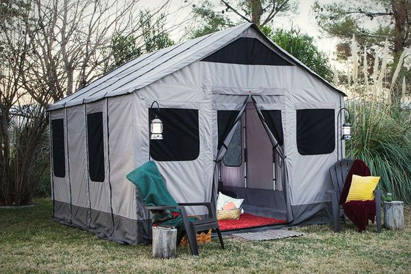 17 best images about camping on pinterest stove for Permanent tent cabins
