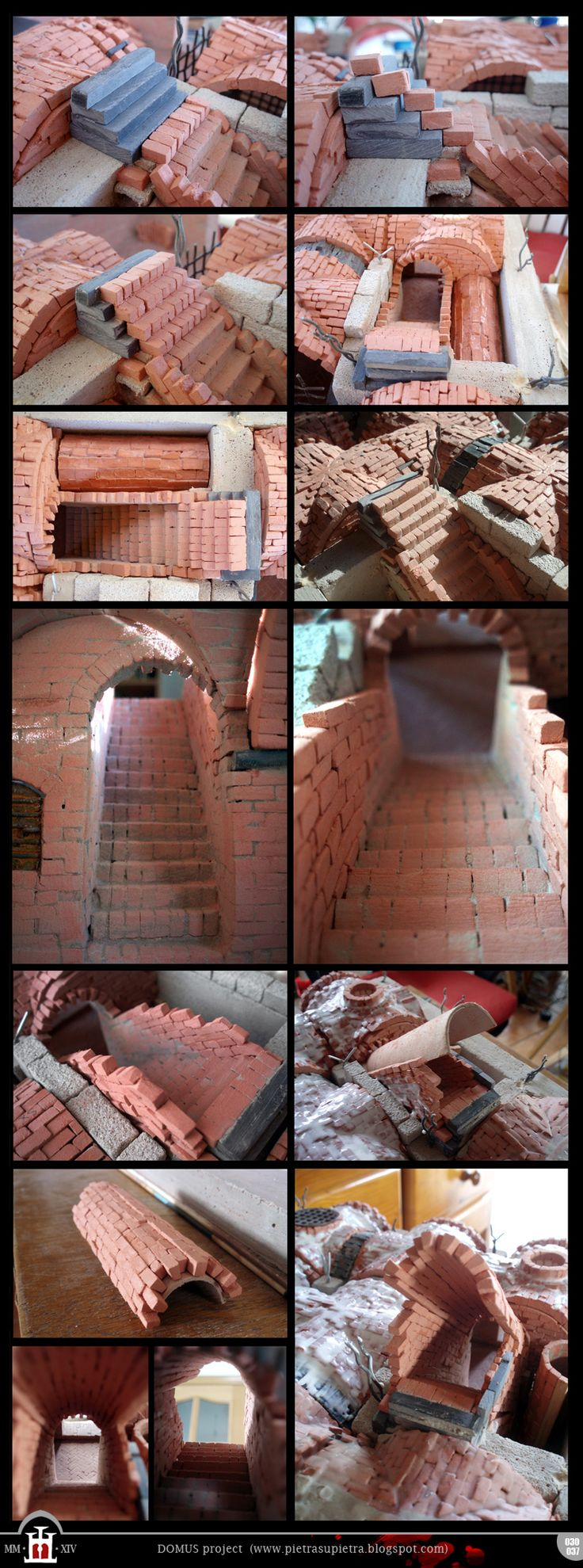 Domus project 030-037: Clay brick staircase (part II) http://pietrasupietra.blogspot.com/2012/07/construction-30-brick-staircase-part-2.html - http://pietrasupietra.blogspot.com/2012/12/construction-37-brick-staircase-part-3.html  The Domus project is the construction in scale 1:50 of an imaginary medieval palace. It's made of clay, stones, slate, wood and other construction materials in the style of rich genoese buildings from the middle of XIV century.