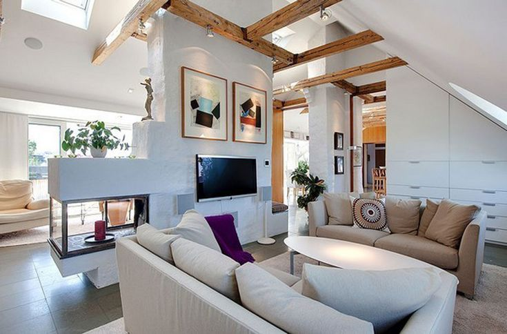wooden beams: beautiful living room furniture | ... Beautiful Penthouse Design with Best Finishing and Furniture - Living