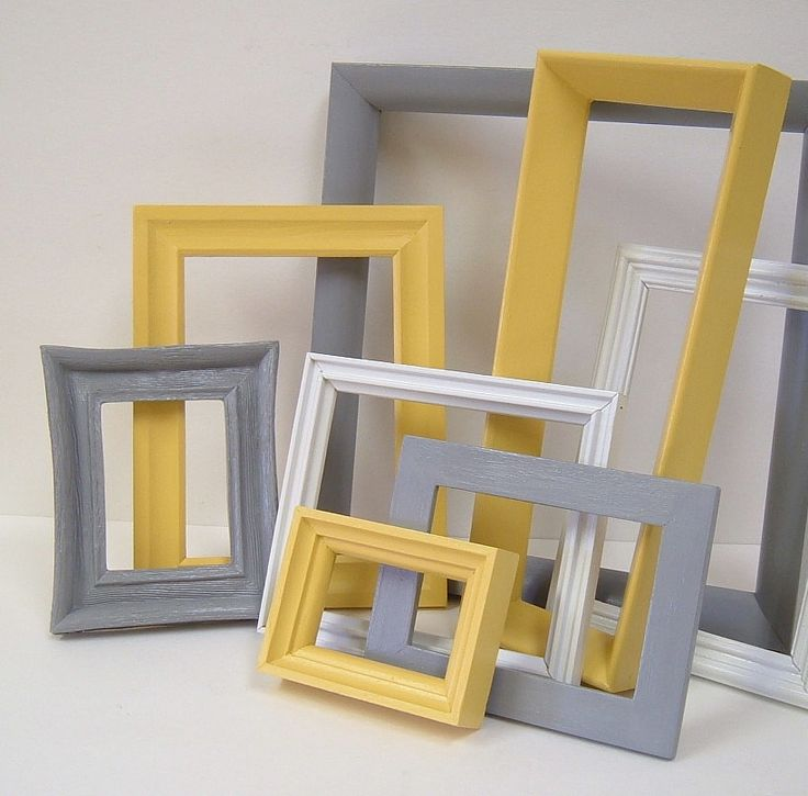 Yellow And Grey Home Decor Picture Frames Modern Wall Decor Gallery Frames  Set
