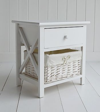 New Haven white bedside table for small bedroom
