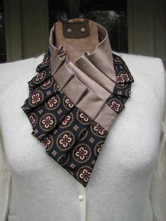 Pleated Silk Ascot  Ruffled Neck Scarf  Silk Necktie by TieTandem