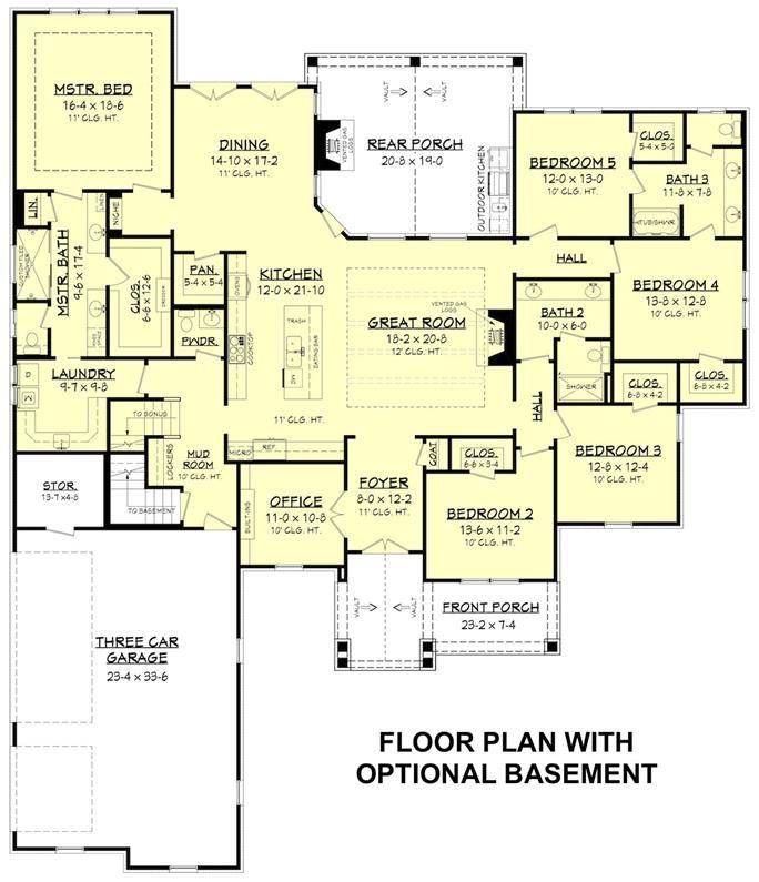 142 1199 floor plan basement craftsman style house