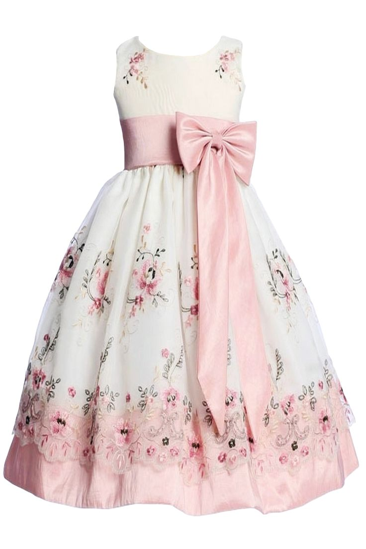 Ivory & Dusty Rose Floral Embroidery Organza Overlay Dress with Taffeta Trim (Girls 6 months - Size 7)