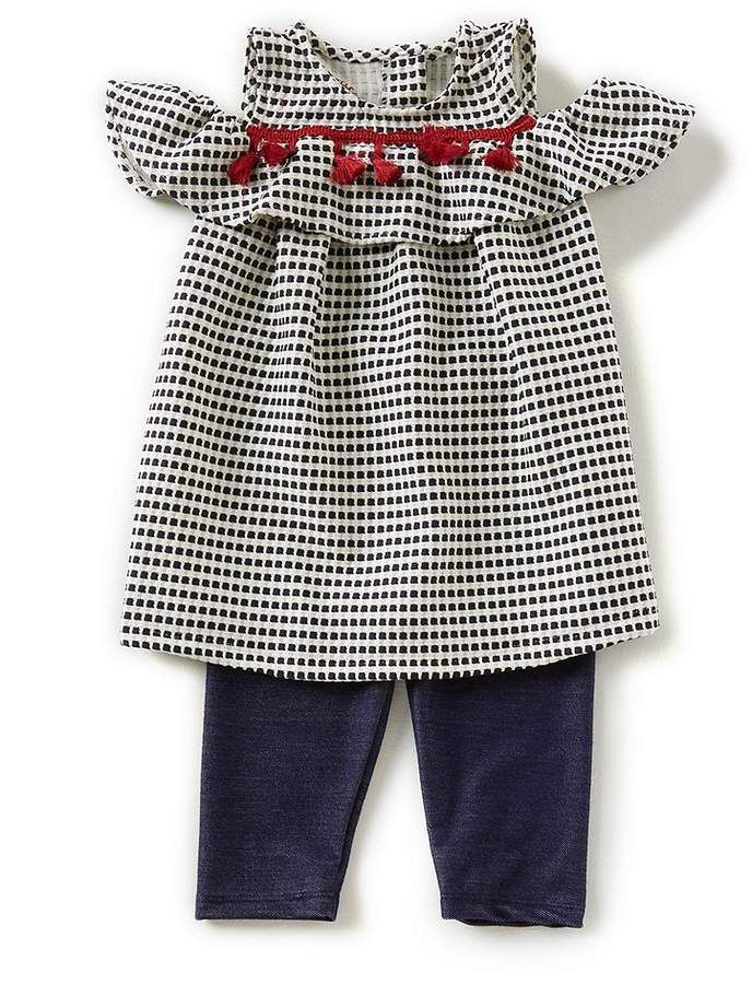 35abc01480c9 Pastourelle By Pippa & Julie Pastourelle by Pippa & Julie Little Girls  2T-6X Dotted Cold-Shoulder Top & Leggings Set #sleeves#shoulder#cold