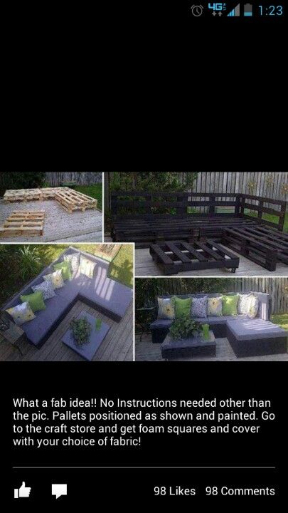Pallet Furniture !!!!! So easy to do and very nice !! Definitely adding this to my to do project list. Especially since my patio set took off in the tornado!