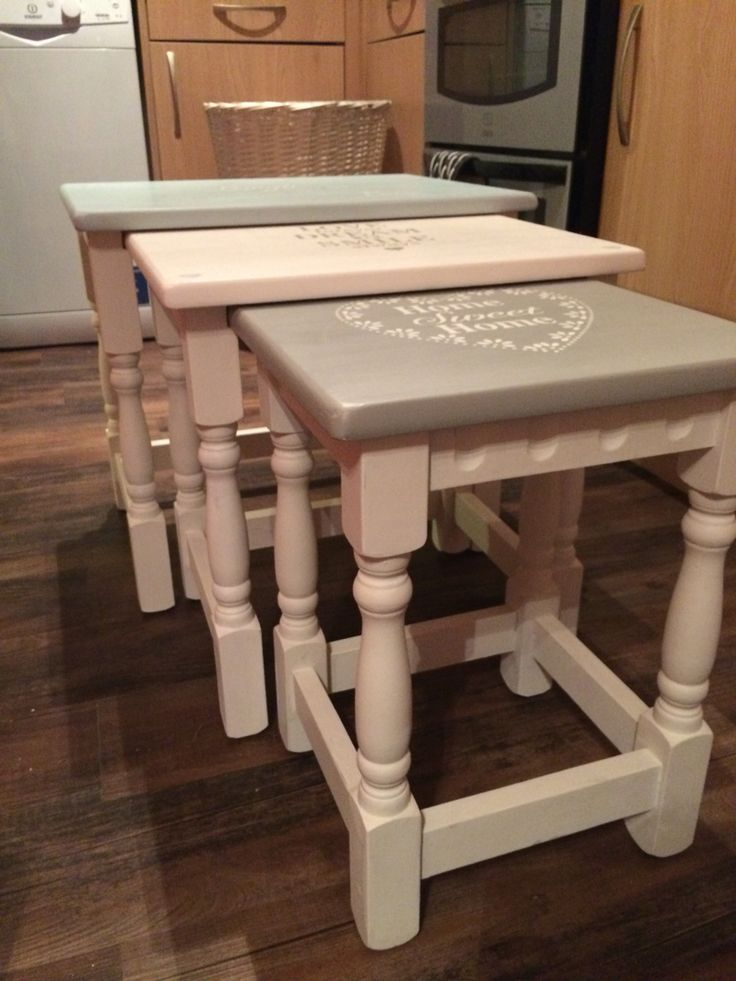 Nest of tables,painted,stencilled and waxed