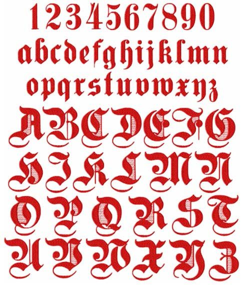 Alphabet Gothic Red Graffiti Letters