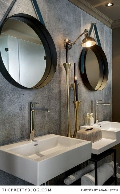 Modern bathroom with statement mirrors | Majeka House, Photo: Adam Letch, Decorating: Etienne Hanekom