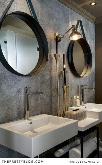 Modern bathroom with statement mirrors | Majeka House, Photo: Adam Letch, Decorating: Etienne Hanekom