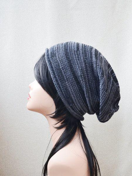 Gestrickte schwarzen grauen Hut Beanie Damen Herre von DolgovaSvetlana auf DaWanda.com