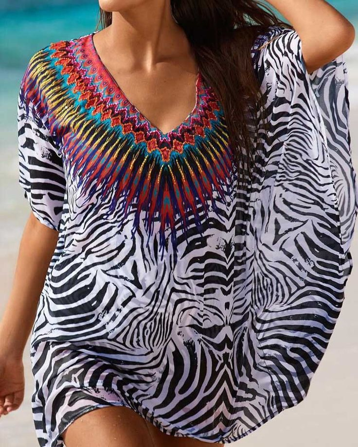 Lovely Tribal Print Fashion Design Beach Tunic Cover Up One Size