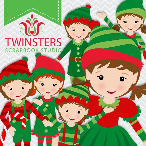 Santa's Elves clipart png digital clipartTW062  by Twinsters, $5.00