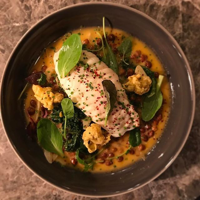 Cape monkfish, ceci neri, crispy oysters, kale and 'nduja broth. . . . . . #seafood #localsonly #monkfish #nduja #chickpeas #kale #capecod #newengland #winterdishes #stew #goodweekend #eatingfortheinsta #eating #boston #restaurant #brasserie #healthyfood #healthyliving #frtakeover #MJFLAVOR
