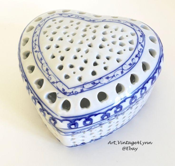 Pretty Heart Shaped Potpourri Bowl or Trinket Box, Lovely heart shape, Fill it with Fragrance! #Art_Vintage4Lynn #Ebay to buy click image #FrenchCountryDecor #HomeFragrance #Blue&WhitePottery #Blue&WhiteDecor #GiftForHer #MothersDayGift #SweetheartGift #GirlFriendGift #TrinketDish #Country