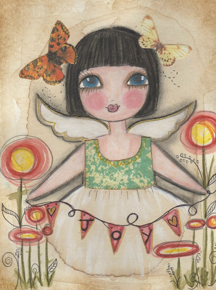 Joy in my HEART angel mixed media ART card. $6.00, via Etsy.