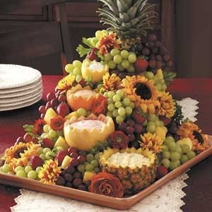 luau fruit display....love the fruit dip containers
