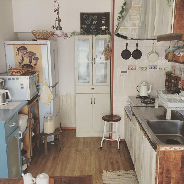 nanohanaさんの、キッチン,DIY,タイル,かご,団地,台所,古木,壁紙や本舗,台所道具,東欧生地,のお部屋写真