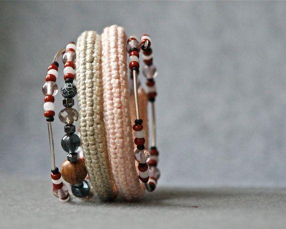 coil crochet bracelet with beads by CrochetbyMarianneS