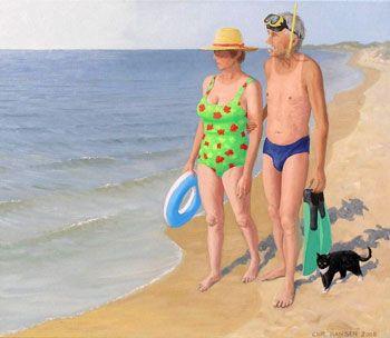 Sommeraften på Skagen strand