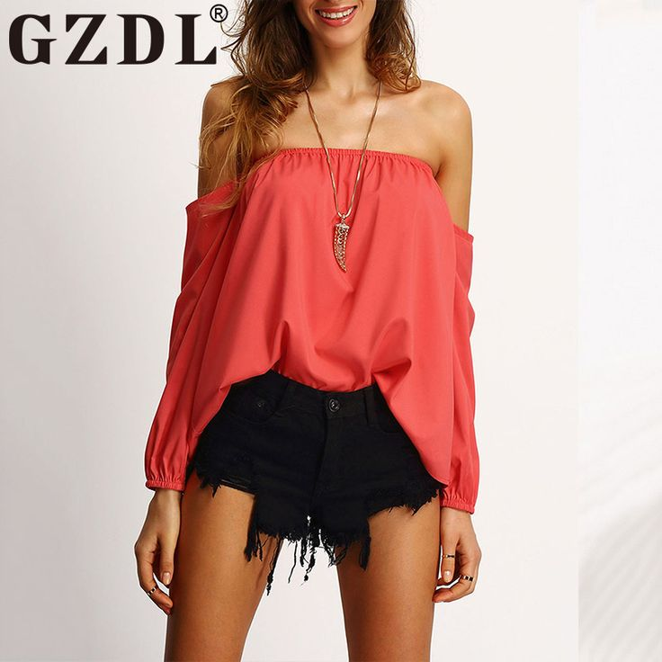 GZDL Sexy Slash Neck Ruffles Women's Top Tees Off Shoulder Solid Chiffon Backless Long Sleeve Tops Blouses Clubwear CL3219 #Affiliate