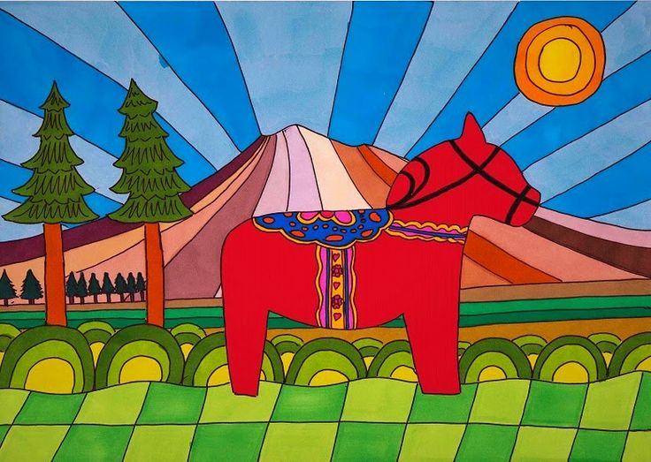 This A4 illustration, titled Dalahäst (Dala horse), was inspired by the decorative wooden horses (Dalahäst) from the Dalarna (Dalecarlia) region of Sweden. It features a red horse set against a multicoloured psychedelic background. Materials used: promarkers and fine liner pen. #dalahorse #dalahäst #illustration #drawing #art #artwork