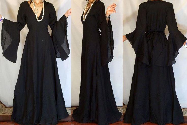Black Boho gothic WEDDING ANGEL BUTTERFLY Sleaves Gypsy Long Addams Family Halloween  Dress vampire goth by MissEthnicCom on Etsy https://www.etsy.com/listing/179694609/black-boho-gothic-wedding-angel