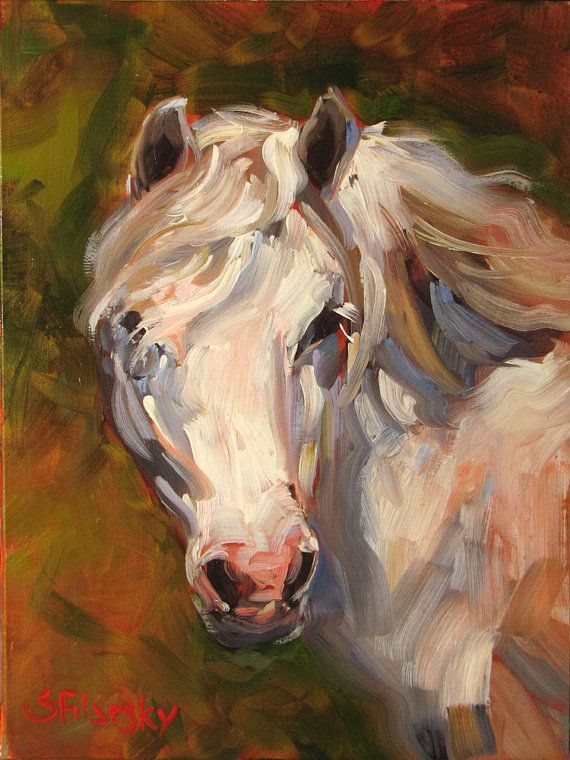 Beautiful,Original oil painting by Stephen Filarsky, White Pony, horse art, made in USA, Free Shipping on Etsy, $395.00