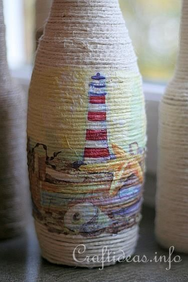 This is SOOO pretty!! And looks very professional and well...classy!!  And it's nothing but a recycled bottle, jute, glue and a pretty napkin!!!