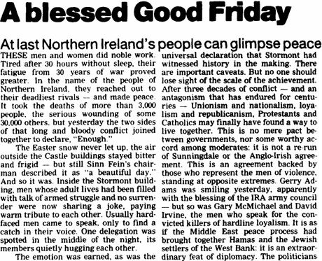 The Good Friday Agreement also attempted to settle the most contentious constitutional issues. It stipulated that the future political status of Northern Ireland (i.e. whether it would unite with Ireland or remain part of the U.K.) would be decided by popular vote. It forced the Republic of Ireland to relinquish a claim to Northern Ireland stipulated in its constitution.  The agreement was put to referendum in both Northern Ireland and the Republic, and passed overwhelmingly in both cases…