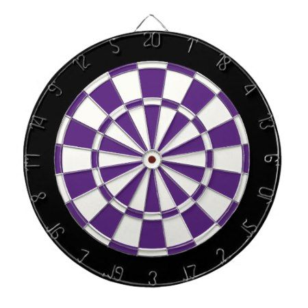 Dark Purple Black And White Dartboard - tap to personalize and get yours