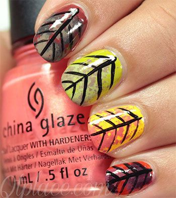 autumn fall inspired nail art designs trends ideas for girls 2013 2014