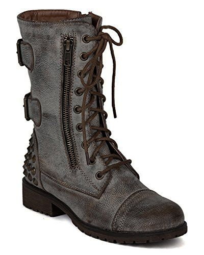 Harley 12 Womens Military Lace up Studded Combat Boot (6 ...